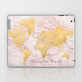 """Adventure awaits, gold and pink marble detailed world map, """"Sherry"""" Laptop & iPad Skin"""