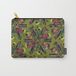 bohemian posy green Carry-All Pouch