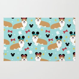 Corgi theme park lover dog breed pattern gifts Rug