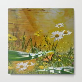 Yellow daisies and waterdroplets with butterfly by annmariescreations Metal Print