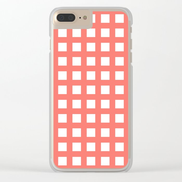 Retro thick coral grid pattern Clear iPhone Case