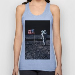 Buzz Aldrin and the U.S. Flag on the Moon Unisex Tank Top