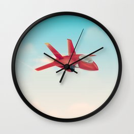 Red Jet fighter plane Wall Clock