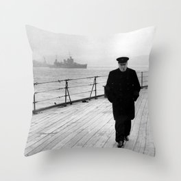 Winston Churchill At Sea Throw Pillow
