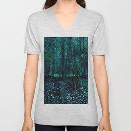 Vincent Van Gogh Trees & Underwood Teal Green Unisex V-Neck