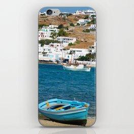 Blue Boat on Mykonos Island Greece iPhone Skin