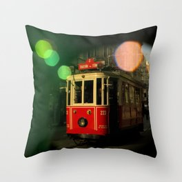 red tram in bubbles Throw Pillow