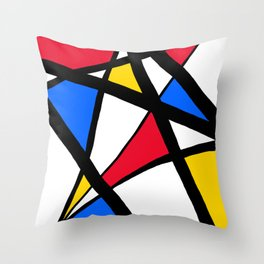 Red, Yellow, Blue Primary Abstract Throw Pillow