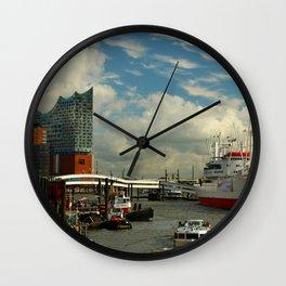 Elbharmonie With Harbor Scene Wall Clock