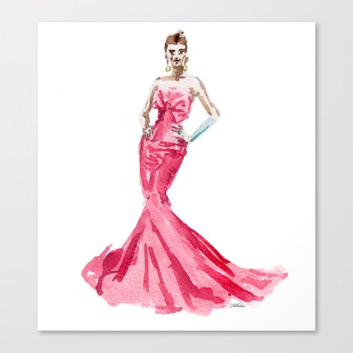 Sabrina / Hepburn Fuschia Pink Red | Fashion Gown Dress Canvas Print ...