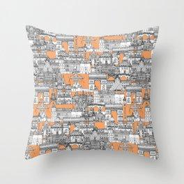 Paris toile cantaloupe Throw Pillow