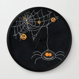 Halloween Spider on Web Wall Clock