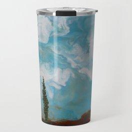 Cypress Trees encaustic wax painting by Seasons Kaz Sparks Travel Mug
