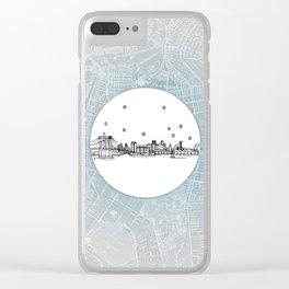 Brooklyn, New York City Skyline Illustration Drawing Clear iPhone Case