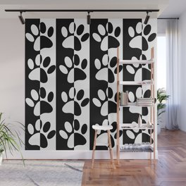 Black And White Dog Paws And Stripes Wall Mural