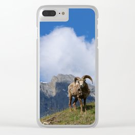 Ram Against Mountain Backdrop Clear iPhone Case