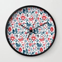 Scandinavian Red Blue Wall Clock