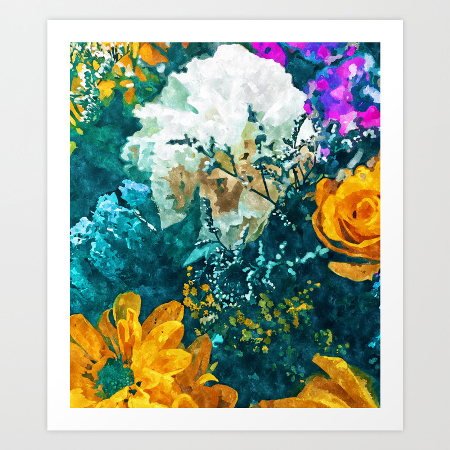 Dark Floral Painting Nature Art Print By 83oranges Society6