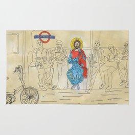 Jesus on the Tube, He is among us Rug