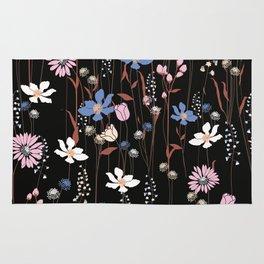 Darkly Beautiful Wildflower Floral Pattern Rug
