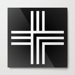 Geometric Swiss Cross (white with black background) Metal Print