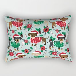 Dachshund christmas sweater florals poinsettia holiday red and white santa hat for dog lover Rectangular Pillow
