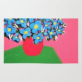 Blue Spring Flowers Rug