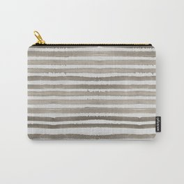 Simply Shibori Stripes Earth Brown on Lunar Gray Carry-All Pouch