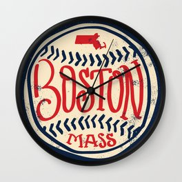 Hand Drawn Baseball for Boston with custom Lettering Wall Clock
