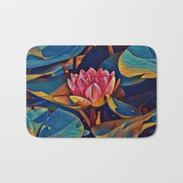 Painted Waterlily Bath Mat