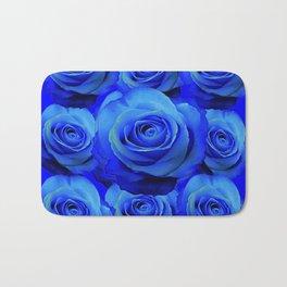 AWESOME BLUE ROSE GARDEN  PATTERN ART DESIGN Bath Mat