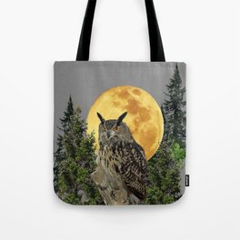 GREY WILDERNESS OWL WITH FULL MOON & PINE TREES Tote Bag