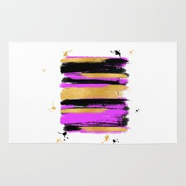 Black Pink And Gold Abstract Paint Lines Rug