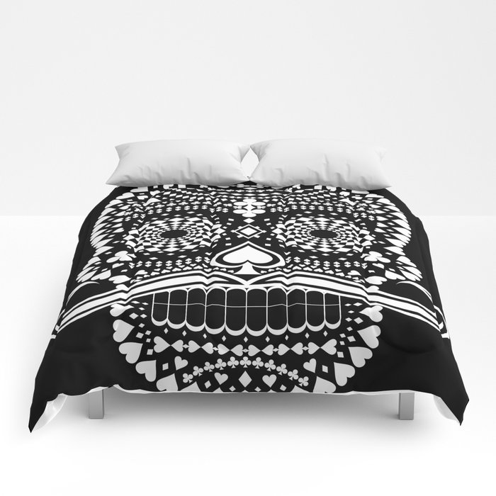 Black Skull  White Suits Comforters