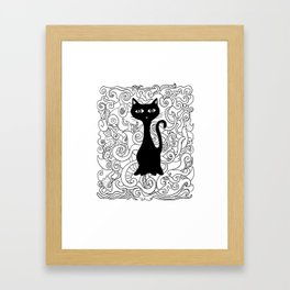 Cat in curves Framed Art Print