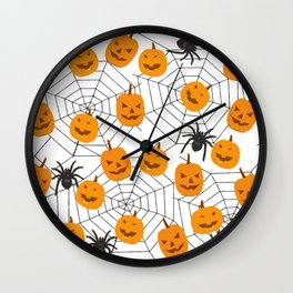 Halloween Pattern Spider Pumpkin Wall Clock