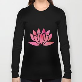 Zen Watercolor Lotus Flower Yoga Symbol Long Sleeve T-shirt