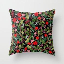 Christmas Floral Black Throw Pillow
