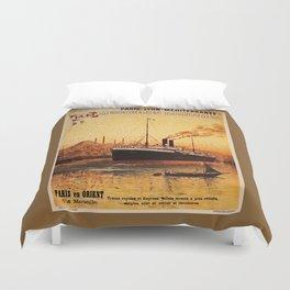 Vintage French Orient Shipping line Paris Mediterranean Duvet Cover