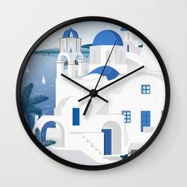 Vintage Santorini poster Wall Clock