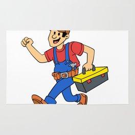 Happy running handyman cartoon illustration Rug