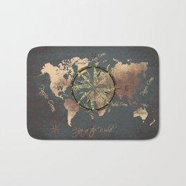 world map wind rose 8 #worldmap #map Bath Mat