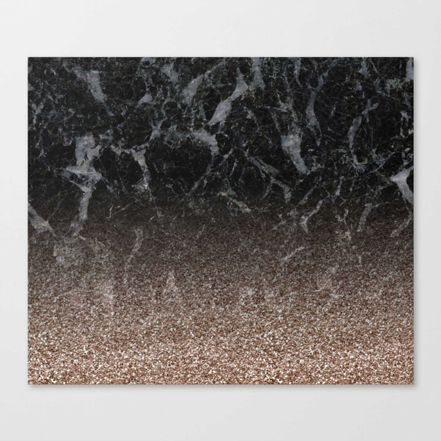Glitter Ombre Black Marble Rose Gold Glitter Canvas Print By Marbleco Society6