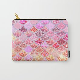 Rosegold & Gold Trendy Glitter Mermaid Scales Carry-All Pouch