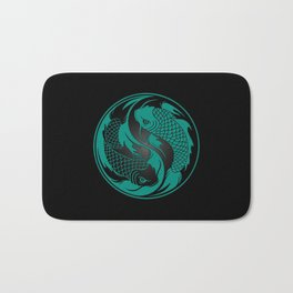 Teal Blue and Black Yin Yang Koi Fish Bath Mat