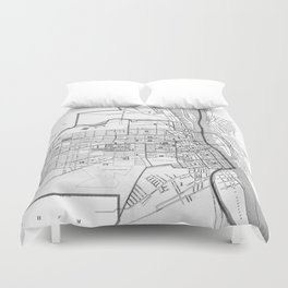 Vintage Map of Albany NY (1895) BW Duvet Cover