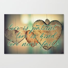Romantic Wood Hearts Rustic Love Quote Bible Verse Canvas Print