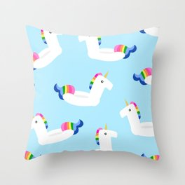 UNICORN FLOATS Throw Pillow
