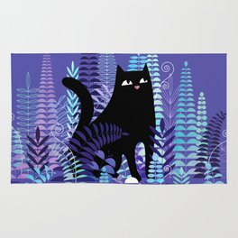 The Ferns (Black Cat Version) Rug
