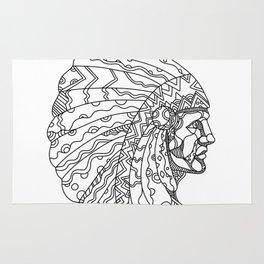 American Plains Indian with War Bonnet Doodle Rug